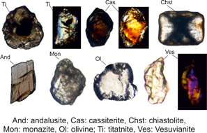 Examples of detrital heavy minerals in the plane polarised light
