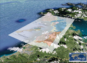 Google Earth DEM and geological map overlay of the Capoas region, Northern Palawan.