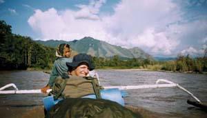 Fieldwork in the Karama River, Sulawesi: Eocene sedimentary rocks in background