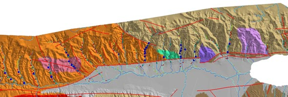 Geomorphic indices calculated for various sectors of the Palu-Koro Fault Zone