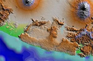 SRTM DEM of the Wonosari Carbonate Platform