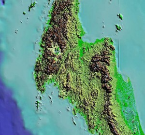 SRTM DEM of the Khlong Marui and Ranong Faults